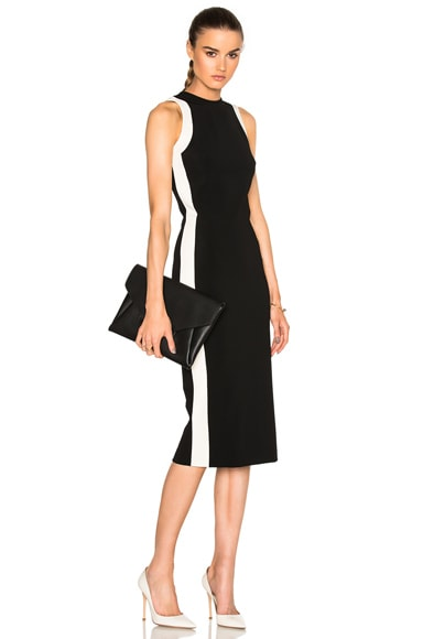 David Koma Contrast Frame Dress in Black & White
