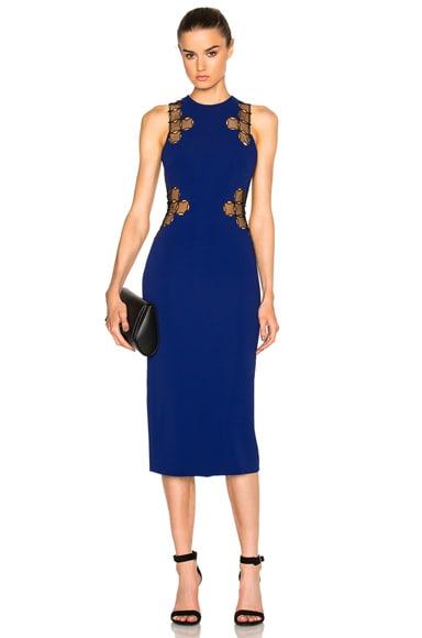 David Koma Lace Back Dress in Blue & Black