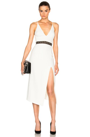 David Koma V Cut Dress in White