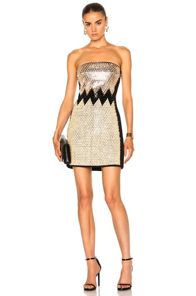 David Koma Plexi & Stones Embroidered Dress in Peach & Black & Beige