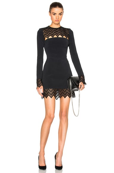 David Koma Zig Zag Macrame Mini Dress in Black