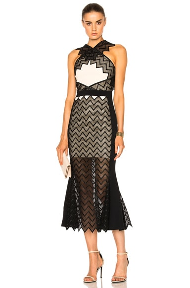 David Koma Zig Zag Macrame Midi Dress in Peach & Black