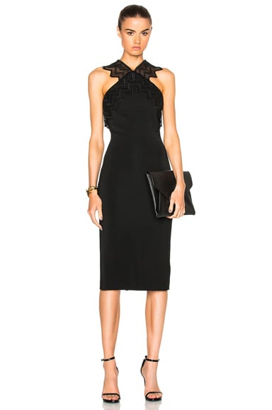 David Koma Zig Zag Macrame Pencil Dress in Black