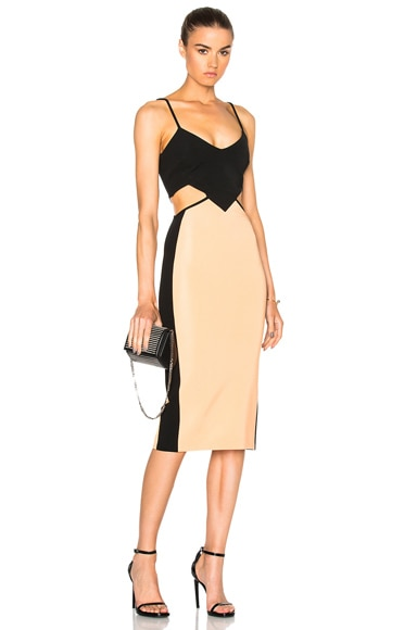 David Koma Contrast & Cut Out Dress in Black & Peach