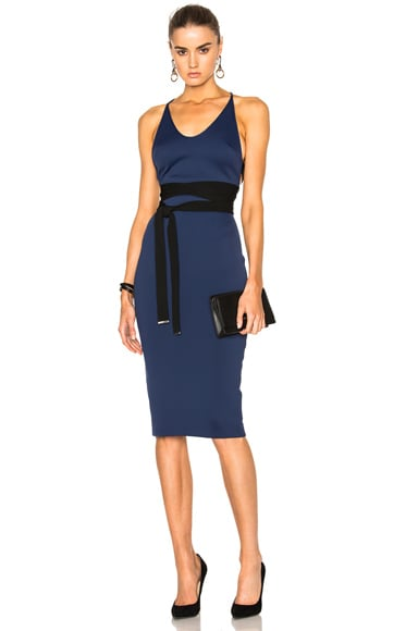 David Koma Side Cut Out Pencil Dress in Black in Black & Navy