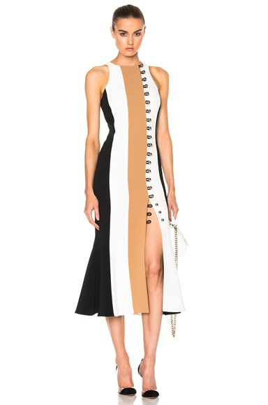 David Koma Loops & Metal Front Detail Paneled Tea Dress in Black & Beige & White