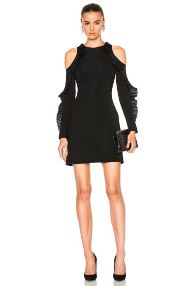 David Koma Ruffled Long Sleeve Open Shoulder Dress in Black