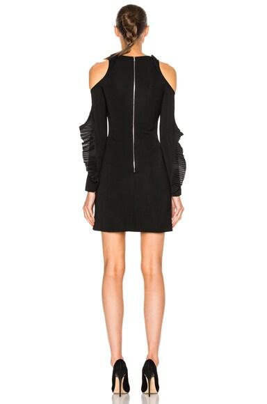Ruffled Long Sleeve Open Shoulder Dress
