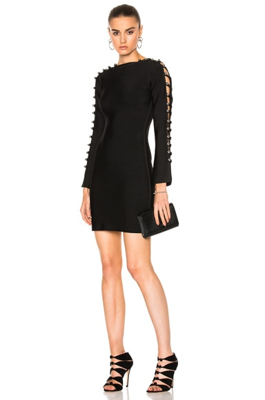 David Koma Metal Balls Detailing Long Sleeve Knitted Dress in Black
