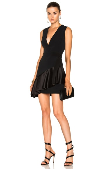 V-Neck Overlap Asymmetric Ruffle Hem Dress