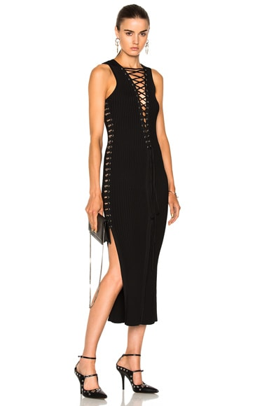 Lace Up Metal Tube Sides Knit Dress
