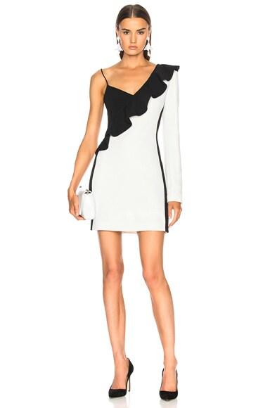One Sleeve Diagonal Mini Ruffle Dress