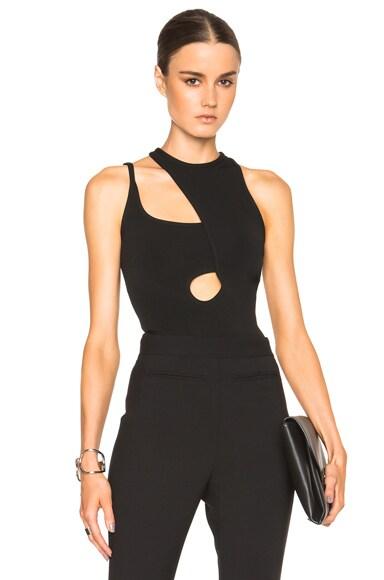 David Koma Asymmetric Cut Outs Strap Bodysuit in Black