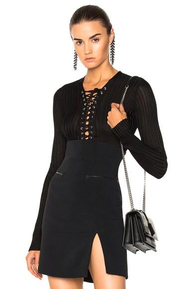 Lace Up Long Sleeve Knit Bodysuit
