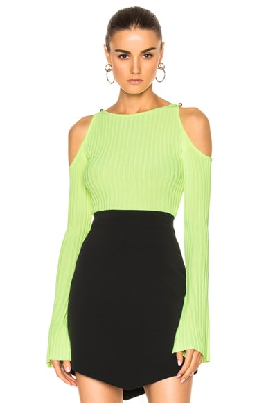 David Koma Rib Knit Open Shoulder Long Sleeve Pullover in Neon Yellow