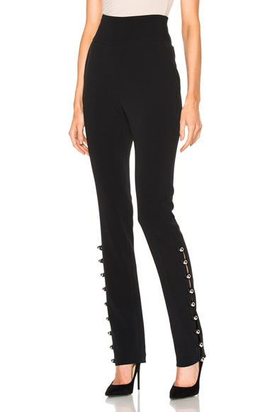 David Koma Loops & Metal Balls Hem Embroidered Trousers in Black