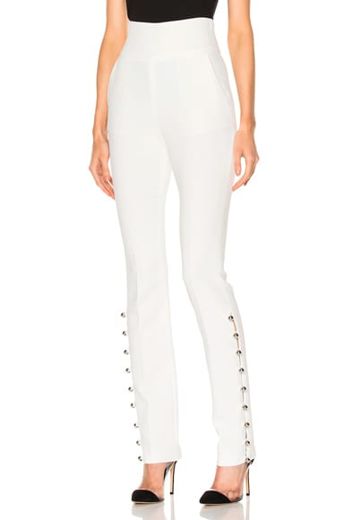 Loops & Metal Balls Hem Embroidered Trousers