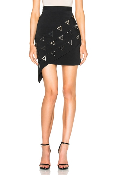 David Koma Asymmetric Metal Embroidered Skirt in Black