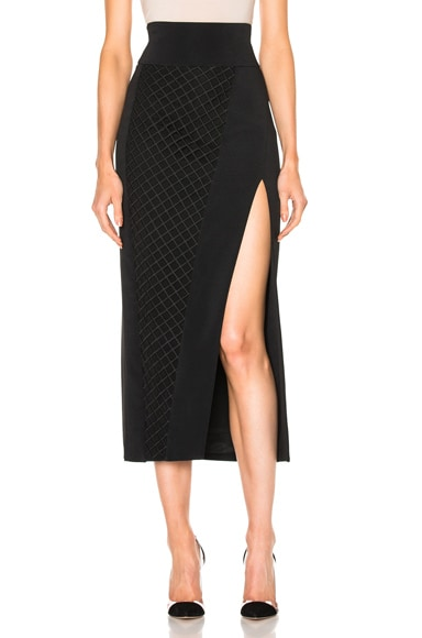 David Koma Asymmetrical Lace Insert Midi Skirt in Black