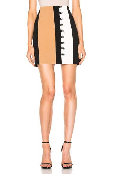 David Koma Loops & Metal Balls Front Detailing Mini Skirt in Black & Beige & White