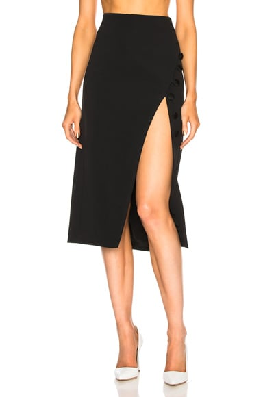 Button Detail Side Slit Pencil Skirt