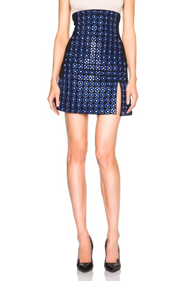 David Koma High Waisted Embroidered Skirt in Black & Navy