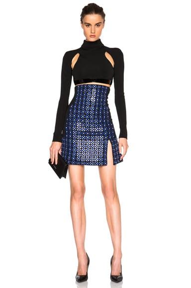 High Waisted Embroidered Skirt
