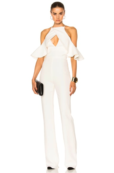 David Koma Shoulder Ruffle Jumpsuit in White