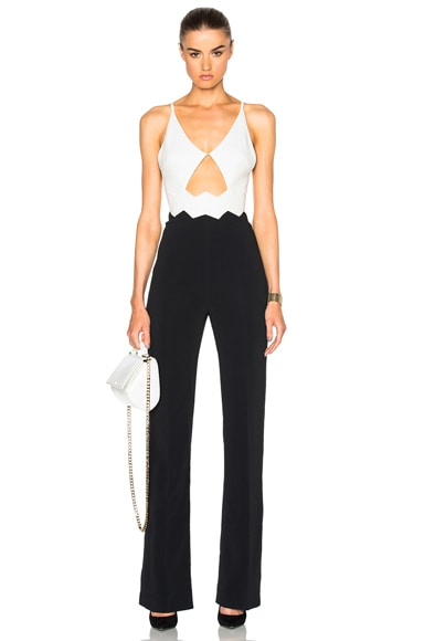 David Koma Zig Zag Waist Detail Jumpsuit in White & Black