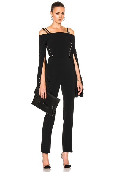 David Koma Oversized Loops & Metal Balls Cropped Jumpsuit in Black
