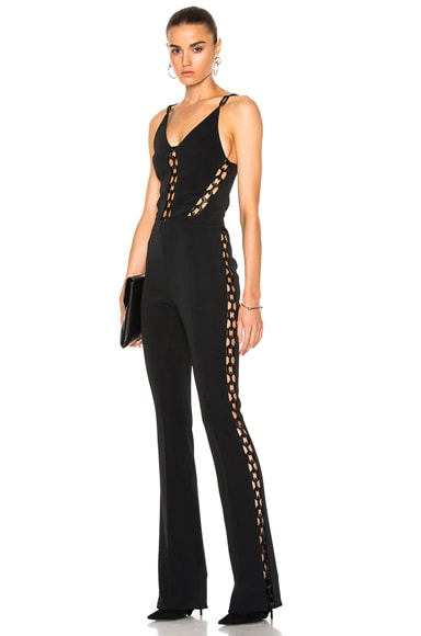 David Koma Chain Lace Inserts Jumpsuit in Black