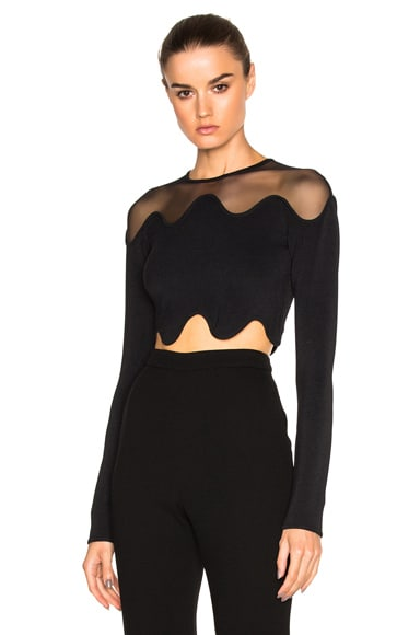 David Koma Shoulder Net Crop Top in Black