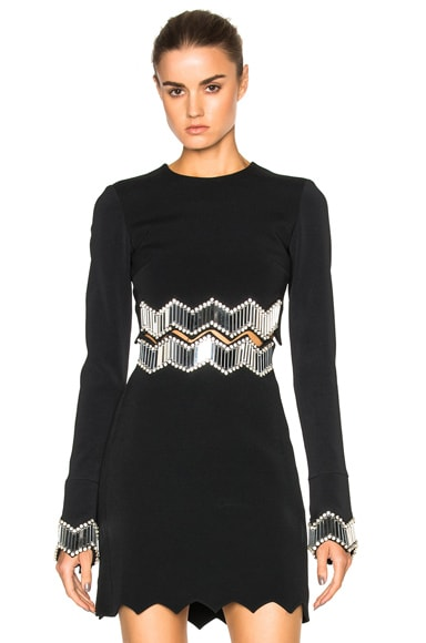 David Koma Embroidered Top in Black & Silver
