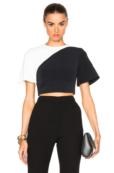 David Koma Contrast Crop Top in Black & White