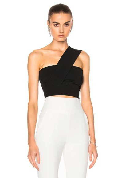 David Koma Over Shoulder Strap Cropped Top in Black