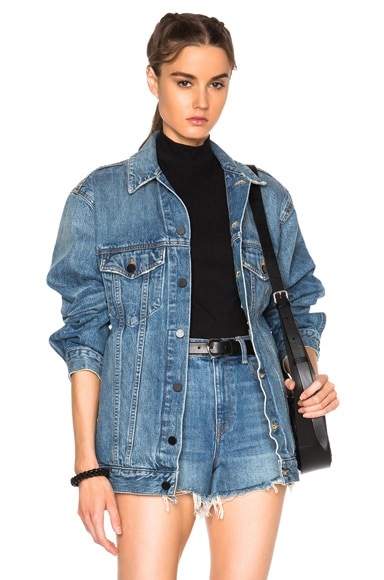 Alexander Wang Daze Oversized Jacket in Light Indigo Aged