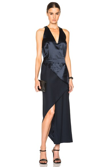 Silk Satin Bias Fold Dress