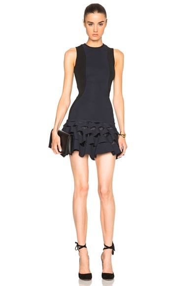 Dion Lee Lory Slash Ruffle Mini Dress in Ink & Black