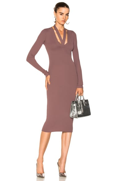 Pinnacle Placket Tie Long Sleeve Dress