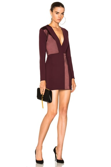 Spliced Silk Mini Long Sleeve Dress