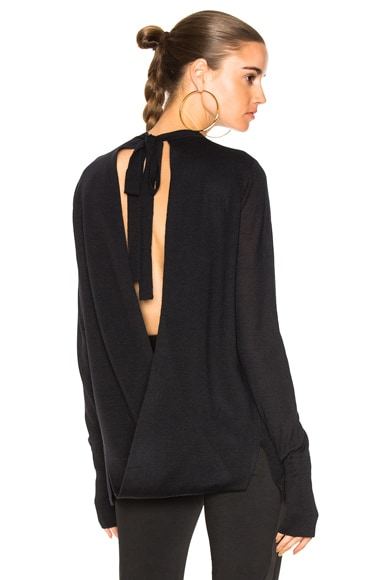 Merino Loop Back Tie Sweater