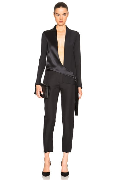 Dion Lee Silk Satin Belted Shell Jacket in Ink