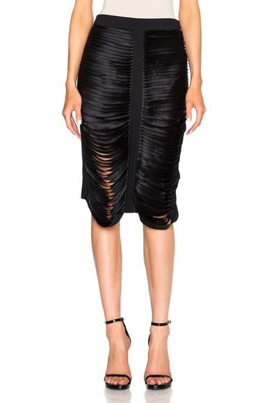 Dion Lee Silk Satin Bias Stack Skirt in Midnight