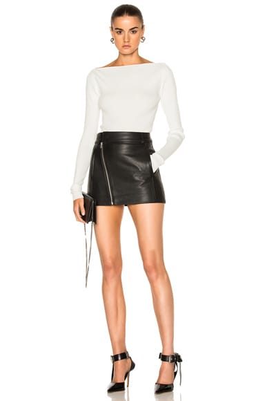 Leather Biker Mini Skirt