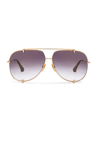 Dita 18K Talon Sunglasses in Dark Grey & Gold
