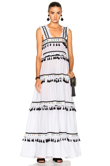 Dodo Bar Or Amal Dress in White Colorful