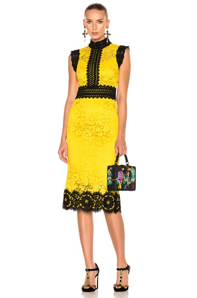Dolce & Gabbana Lace Midi Dress in Mandarin