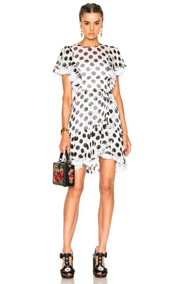 Dolce & Gabbana Ruffle Mini Dress in Black & White