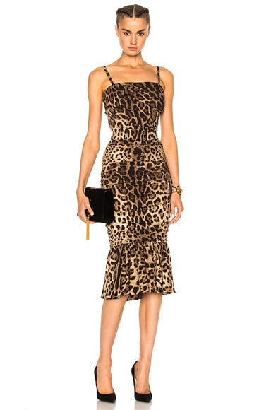 Dolce & Gabbana Cady Stretch Leopard Print Dress in Natural