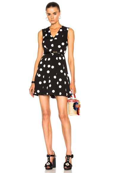 Dolce & Gabbana Sleeveless Polka Dot Dress in Black & White